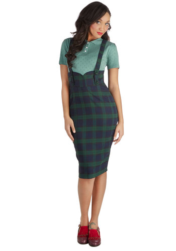 Not a Moment to Waist Skirt in Green Plaid - Woven, Plaid, Work, Scholastic/Collegiate, Better, Vintage Inspired, Variation, Buttons, Jumper, Mid-length, Multi, Multi