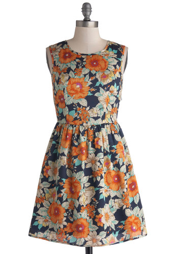 Citrus Cocktails Dress - Short, Woven, Multi, Floral, Cutout, Casual, A-line, Sleeveless, Better, Orange, Blue, Scoop, Summer