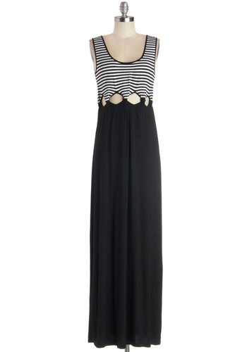 Lido Decked Out Dress - Long, Jersey, Knit, Black, White, Stripes, Cutout, Casual, Maxi, Tank top (2 thick straps), Better, Scoop