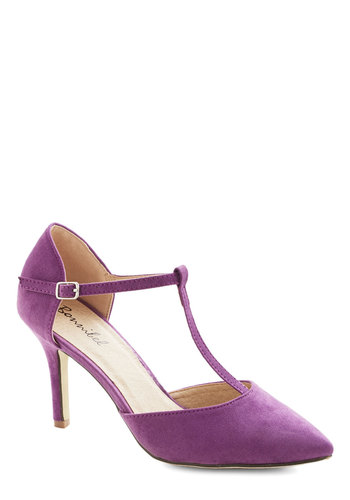 Get It, Got It, Go-See Heel in Lavender - Mid, Purple, Solid, Prom, Wedding, Party, Cocktail, Girls Night Out, 30s, T-Strap, 40s, Vintage Inspired, Bridesmaid, Press Placement
