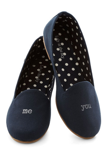 Just the Shoe of Us Flat - Flat, Woven, Blue, Solid, Good, Casual, Sayings, Valentine's