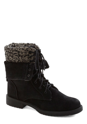 A Touch of Texture Boot - Low, Faux Leather, Knit, Black, Solid, Lace Up, Winter, Casual, Rustic