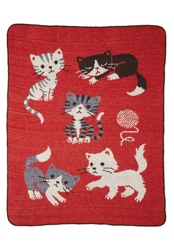 Just Kitten Around Throw Blanket - Knit, Cats, Better, Red, Multi, Print with Animals