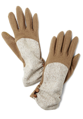 Show and Intelligence Gloves - Tan, White, Solid, Buttons, Fall, Winter, Best, Knit