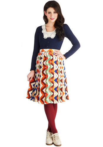 One for the Road Trip Skirt by Bea & Dot - Woven, Exclusives, Multi, Chevron, Pleats, Work, Vintage Inspired, Ballerina / Tutu, Multi, Long