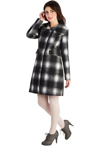 Coast to Coat - Long, 3, Plaid, Buttons, Good, Pockets, Vintage Inspired, Collared, Black, Long Sleeve, Black, Fall, Winter, Multi