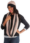 Ski Lift Me Up Hat and Scarf Set - Knit, Pink, Grey, Winter, Colorblocking, Trim, Gifts Sale