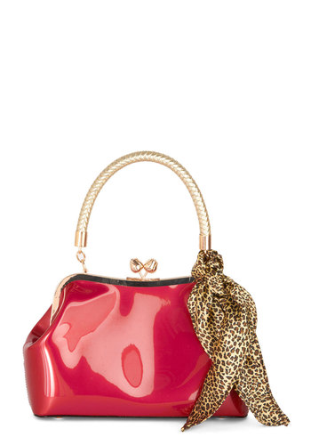 Adorned to Be Wild Bag - Red, Gold, Solid, Braided, Trim, Faux Leather