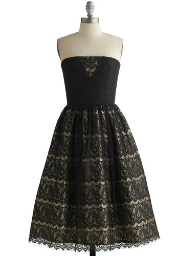 Evening of Extravagance Dress - Black, Tan / Cream, Solid, Lace, Special Occasion, Prom, Holiday Party, Film Noir, Vintage Inspired, Fit & Flare, Better, Exclusives, Strapless, Knit, Woven, Long, 50s, 60s, Lace, Cocktail, Homecoming, Show On Featured Sale