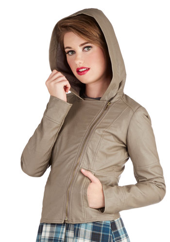 Hit the Bricks Jacket in Stone by Jack by BB Dakota - Short, Solid, Pockets, Urban, Fall, Faux Leather, 2, Exposed zipper, Hoodie, Good, Grey, Long Sleeve, Grey, Top Rated