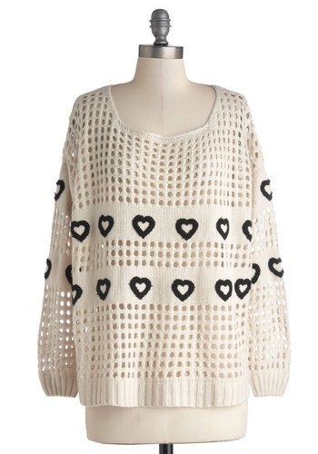 Hearts Aplenty Sweater - Knitted, International Designer, Sheer, Knit, Mid-length, Casual, 80s, 90s, Better, Scoop, White, Long Sleeve, Cream, Black, Novelty Print, Vintage Inspired
