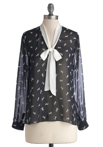 Saddle and Tact Top - Print with Animals, Tie Neck, Work, Long Sleeve, Good, Chiffon, Sheer, Woven, Mid-length, Blue, Blue, White, Long Sleeve, Critters
