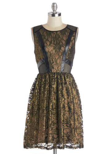 Au-Inspiring Dress - Sheer, Faux Leather, Knit, Mid-length, Black, Gold, Lace, Party, A-line, Sleeveless, Good, Scoop, Lace