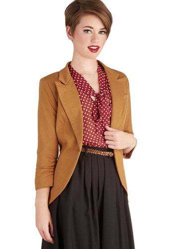 Fine and Sandy Blazer in Ocher - Mid-length, Cotton, Yellow, Solid, Work, Buttons, 3/4 Sleeve, Variation, Basic, Fall, Menswear Inspired, Yellow, 1