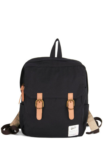 Swing Into Action Backpack in Black - Black, Tan / Cream, Solid, Buckles, Scholastic/Collegiate, Good, Variation, Cotton, Woven, Travel, Festival