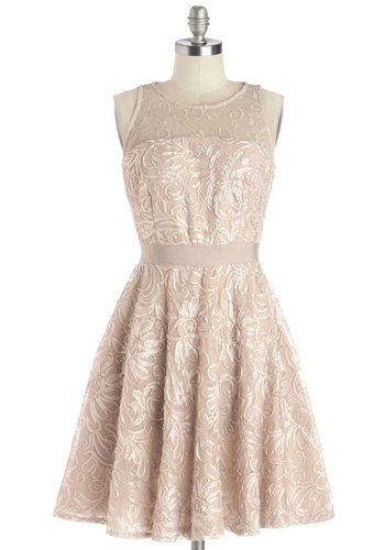 After the Fete Dress - Sheer, Knit, Woven, Mid-length, Pink, Embroidery, Party, Cocktail, Pastel, Fit & Flare, Sleeveless, Prom, Better, Valentine's, Wedding, Bridesmaid