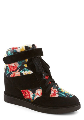 Day at the Conservatory Wedge - Black, Multi, Floral, Urban, Wedge, Lace Up, Mid, Faux Leather, Better