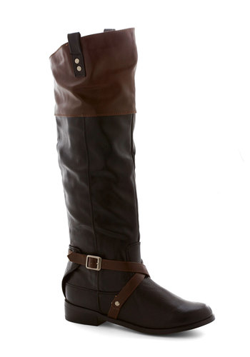 Ask Me Equestrian Boot in Black by Restricted - Low, Faux Leather, Black, Brown, Solid, Buckles, Better, Fall, Variation