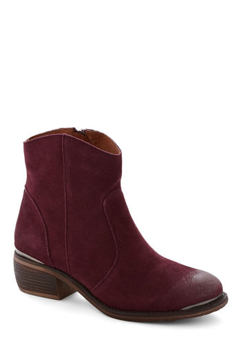 Right at Home Boot in Merlot - Low, Leather, Suede, Red, Solid, Variation, Winter