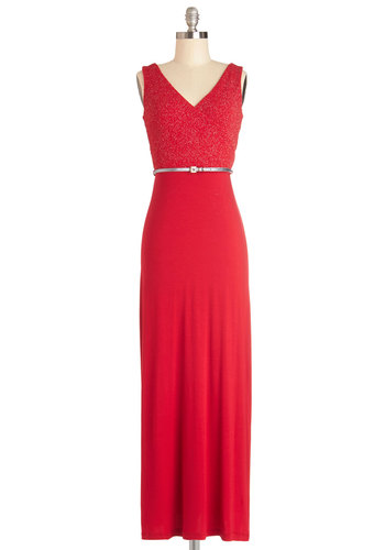 A Study in Starlet Dress - Long, Jersey, Knit, Red, Silver, Belted, Glitter, Party, Holiday Party, Maxi, Sleeveless, V Neck