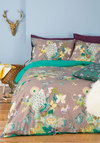 Fowl Play Duvet Cover Set in Full/Queen by Karma Living - Cotton, Woven, Grey, Boho, Best, Green, Floral, Print with Animals, Dorm Decor