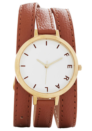 Wrap Time Watch in Brown - Solid, Casual, Gold, Better, White, Variation, Basic, Leather, Brown