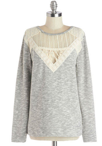 Delightful Details Sweater - Knit, Sheer, Mid-length, Crochet, Lace, Casual, Better, Scoop, Grey, Long Sleeve, Grey, Tan / Cream, Long Sleeve