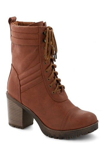 New on the Zine Boot - Mid, Faux Leather, Brown, Solid, Lace Up, Chunky heel, Good, Urban