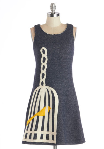 Tweet Home Alabama Dress by Heel Athens Lab - Grey, Yellow, White, Print with Animals, Casual, A-line, Sleeveless, Better, International Designer, Mid-length, Cotton, Knit, Top Rated