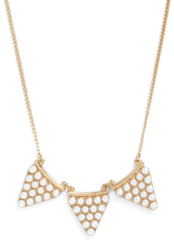 Tri and Tri Again Necklace - Cream, Solid, Pearls, Gold, Good