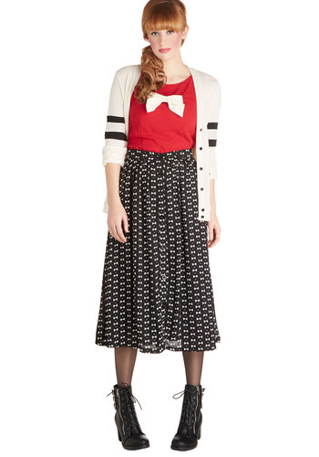 Convivial Curtsy Skirt - Buttons, Better, Woven, Print, Black, Long, Black, Midi