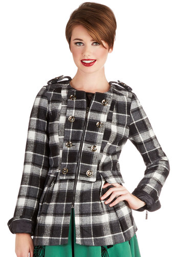 Day at the Dog Park Coat - Woven, Plaid, Buttons, Epaulets, Exposed zipper, Military, Good, Crew, Black, Long Sleeve, Black, Long Sleeve, Fall, Mid-length, 2, Winter
