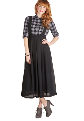 Roll the Clip Skirt - Solid, Better, Woven, Jumper, Black, Pleats, Work, Casual, Scholastic/Collegiate, Black, Long