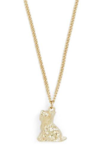 Pup and at 'Em Necklace by And Mary - Gold, Print with Animals, Better, International Designer