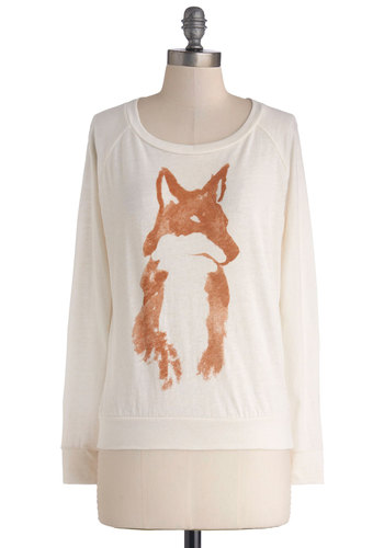 Fox Checker Tee by Kin Ship - Knit, Mid-length, Print with Animals, Casual, Critters, Better, Scoop, White, Long Sleeve, White, Orange