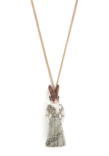 Back in the Rabbit Necklace by And Mary - Grey, Brown, White, Gold, Print with Animals, Bows, Better, International Designer, French / Victorian, Quirky