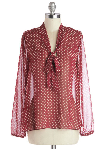 Book Shop 'Til You Drop Top - Red, Tan / Cream, Polka Dots, Tie Neck, Work, Long Sleeve, Good, Chiffon, Sheer, Woven, Mid-length, Red, Long Sleeve