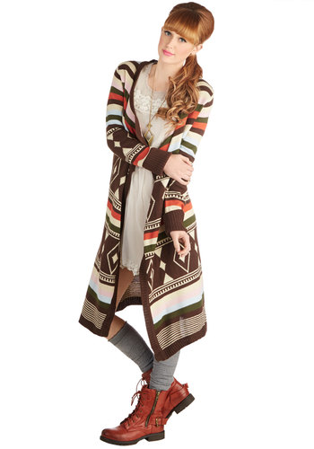 Painted Desert Pretty Cardigan - Knit, Casual, Rustic, Better, Brown, Long Sleeve, Multi, Orange, Green, Brown, Tan / Cream, Print, Long Sleeve