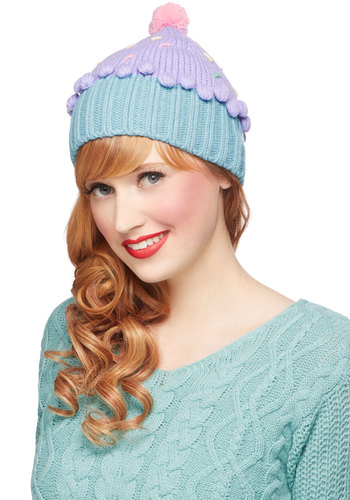 Sweet Getup Hat in Birthday - Blue, Purple, Pink, Multi, Solid, Poms, Kawaii, Better, Knit, Quirky, Fall, Winter, Variation