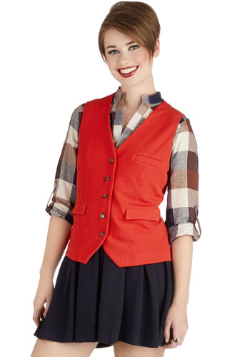 Candy Apple a Day Vest - Solid, Buttons, Pockets, Good, Short, Knit, Menswear Inspired, Buckles, V Neck, Red, Sleeveless, Red