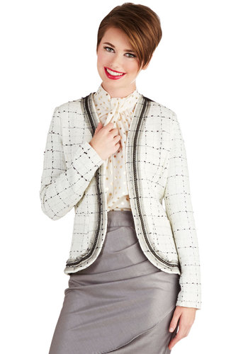 I Gleam Business Jacket - Short, Woven, 1, Checkered / Gingham, Pockets, Work, Vintage Inspired, Good, White, Long Sleeve, Cream