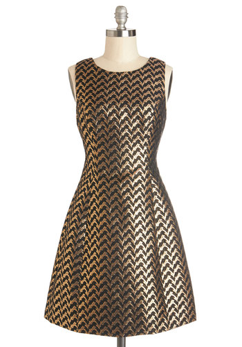 Treasure Seeing You Dress - Woven, Mid-length, Gold, Black, Chevron, Party, Holiday Party, Luxe, A-line, Sleeveless, Scoop, Prom