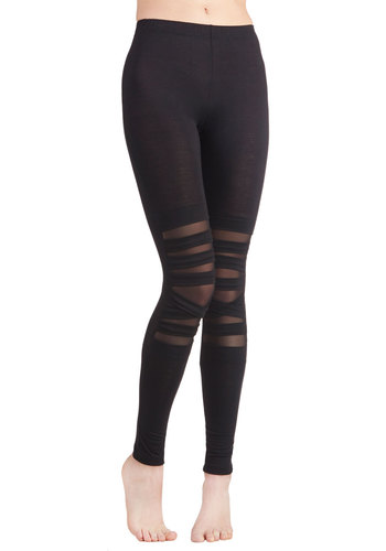 Band-to-Band Leggings - Knit, Sheer, Black, Solid, Urban, Skinny, Girls Night Out, 90s, Better, Mid-Rise, Full length, Black