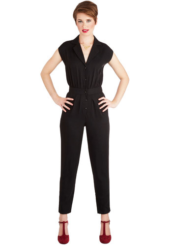 Annabelle's Caught Your Eye Jumpsuit - Long, Woven, Black, Solid, Buttons, Casual, Better, Exclusives, Black, Pockets, Collared, Pleats, Girls Night Out, 60s, 70s, Non-Denim, Jumpsuit, Tapered Leg, Short Sleeves, Fall, Winter, Ankle, Short Sleeve, Festival, Boho