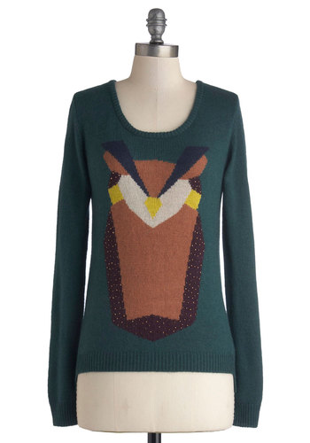 Here and Stare Sweater - Print with Animals, Mid-length, Knit, Casual, Owls, Better, Scoop, Green, Long Sleeve, Green, Brown, Critters, Long Sleeve, Fall