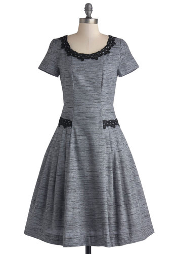 Networking Wonders Dress by Myrtlewood - Private Label, Cotton, Woven, Long, Grey, Black, Solid, Embroidery, Pockets, Party, Fit & Flare, Short Sleeves, Exclusives, Scoop
