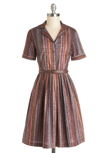 Star of the Antique Show Dress by Myrtlewood - Private Label, Cotton, Woven, Mid-length, Multi, Stripes, Buttons, Pockets, Belted, Casual, Vintage Inspired, 50s, Shirt Dress, Short Sleeves, Exclusives, Collared