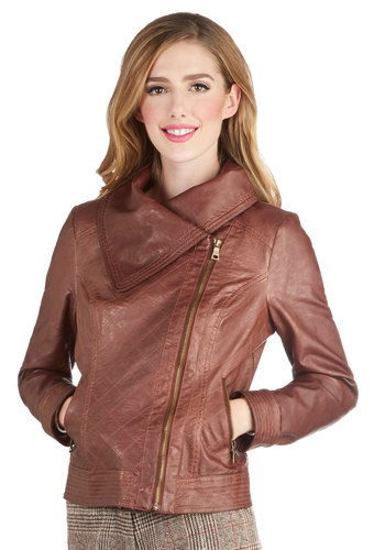 Life of Pilot Jacket - Faux Leather, Short, 2, Solid, Exposed zipper, Pockets, Fall, Urban, Good, Cowl, Brown, Long Sleeve, Brown