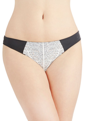 Advance Reservations Thong - White, Solid, Lace, Film Noir, Colorblocking, Boudoir, Knit, Black, Lace