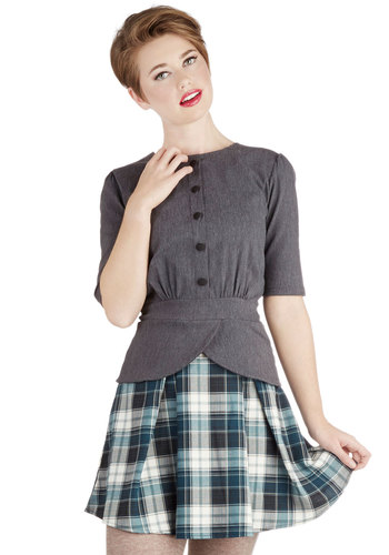 Refined Research Skirt in Teal - Woven, Short, Plaid, Pleats, Scholastic/Collegiate, Variation, Steampunk, Mini, Good, Blue, Blue
